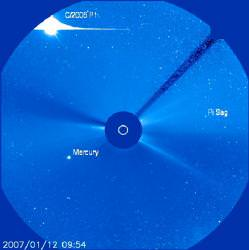 Comet McNaught seen by SOHO. Image credit: NASA/ESA