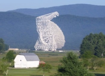 The Robert C. Byrd Green Bank Telescope (GBT) in West Virginia is the world's largest fully steerable radio telescope. Credit: GBT, National Radio Astronomy Observatory