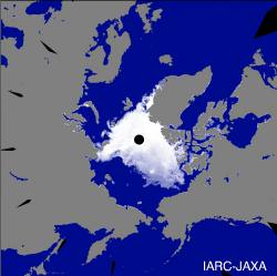 Arctic ice density. Image credit: JAXA