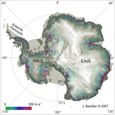 Satellite-derived image of the surface topography of Antarctica. Image Credit: Jonathan Bambe