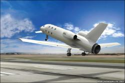 The Astrium Jet takes off like a conventional aircraft, artists impression (credit: Astrium/Marc Newson Ltd.)