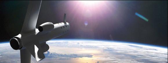 The Astrium spacecraft begins re-entry from orbit (credit: Astrium/Marc Newson Ltd)