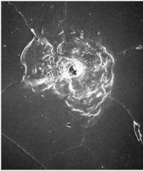 Impact from space debris on shuttle window