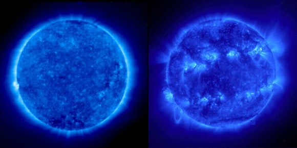 The Sun in EUV. A comparison between solar minimum (left) and maximum (right). Cor