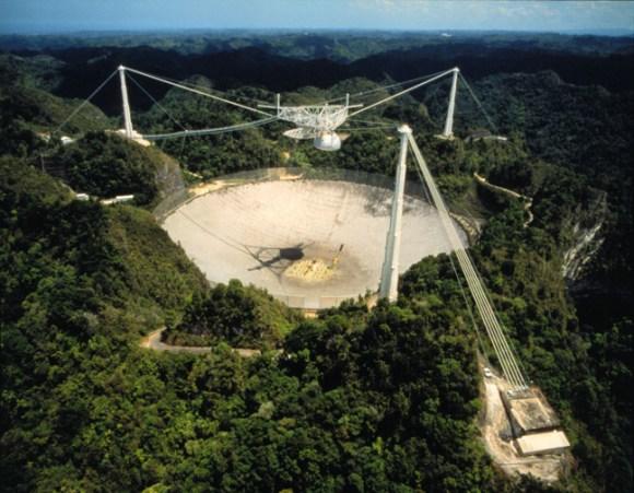 The Arecibo radio telescope in Puerto Rico.