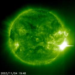 SOHO EIT image of a record breaking solar flare (SOHO/NASA)