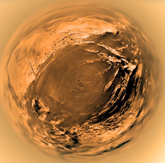 A fish-eye view of Titan's surface from the European Space Agency's Huygens lander in January 2005. Credit: ESA/NASA/JPL/University of Arizona