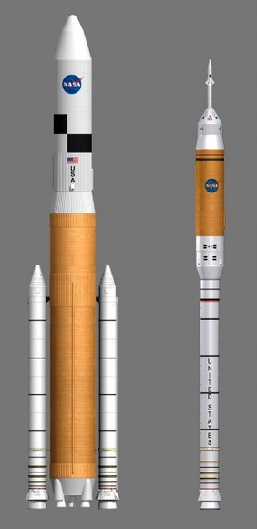 NASA\'s new Ares V & Ares I Rockets.  Credit:  NASA
