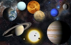 Artist's impression of the planets in our solar system, along with the Sun (at bottom). Credit: NASA