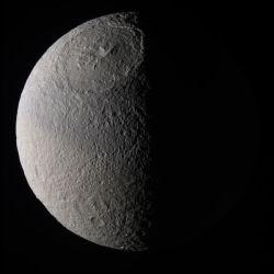 Saturn\'s moon Tethys. Image credit: NASA/JPL/SSI