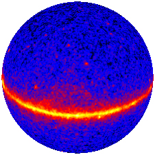 Fermi Gamma-ray Space Telescope\'s first all-sky map made into a sphere to produce this view of the gamma-ray universe. Credit: NASA/DOE/International LAT Team