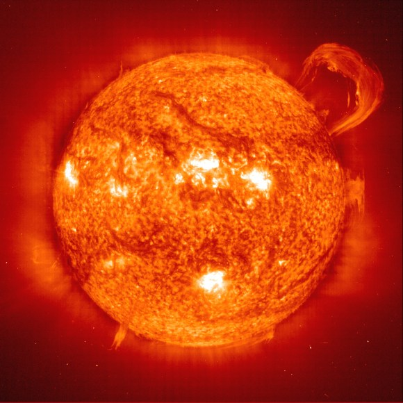 Sun with a huge coronal mass ejection. Image credit: NASA