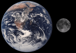 Earth Moon Comparison. Image credit: NASA
