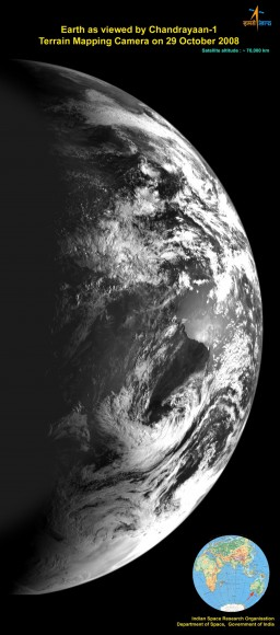 Image of Earth from Chandrayaan-1.  Credit:  ISRO