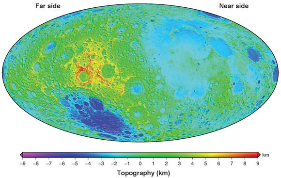 Lunar global topographic map obtained from Kaguya (SELENE) altimetry data shown in Hammer equal-area projection. Credit: Hiroshi Araki et al. 2009