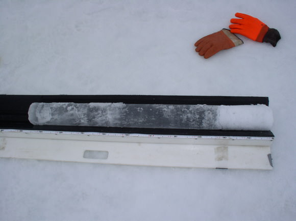 Ice core sample.  Credit:  University of Alaska Geophysical Institute