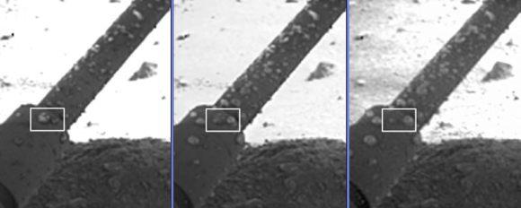 Growing water droplets on Phoenix's legs? (NASA)