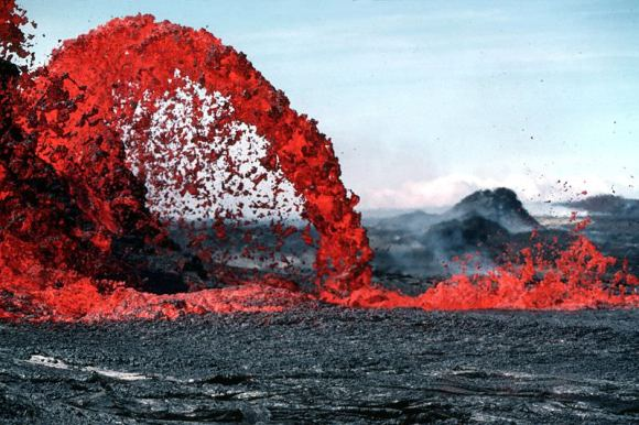 Lava fountain in Hawaii.