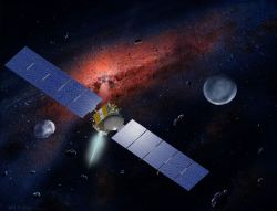 Artist impression of the Dawn spacecraft exploring the asteroid belt (NASA)