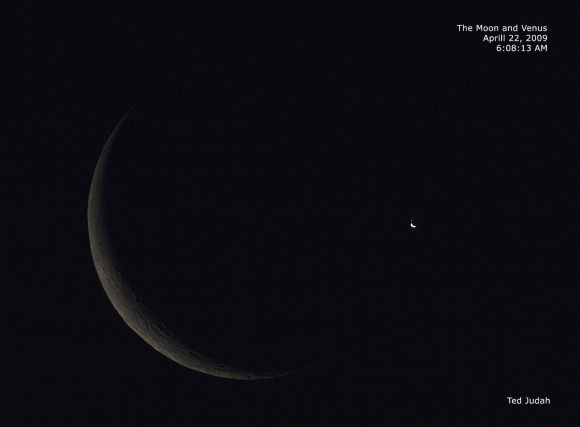 The Moon and Venus on April 22, 2009.  Credit:  Ted Judah