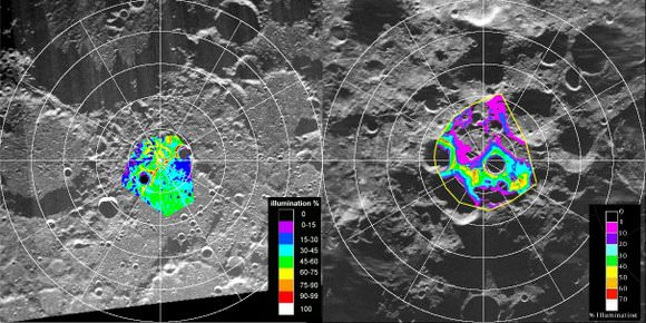 Maps of the lunar poles from the Clementine mission. Credit: NASA