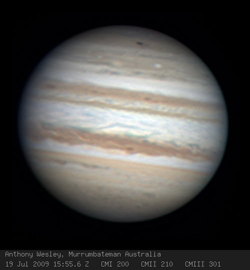 Anthony Wesley from Canberra, Australia has captured a new impact spot on Jupiter. Credit: Anthony Wesl