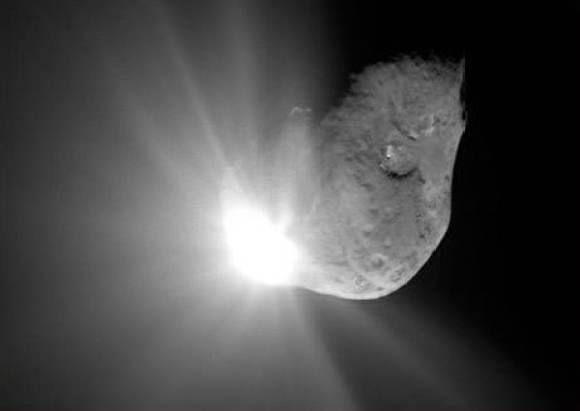 A view of NASA's Deep Impact probe colliding with comet Tempel 1, captured by the Deep Impact flyby spacecraft's high-resolution instrument.
