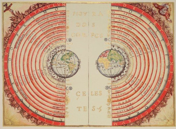 Earth is at the center of this model of the universe created by Bartolomeu Velho, a Portuguese cartographer, in 1568. Credit: NASA/Bibliothèque Nationale, Paris