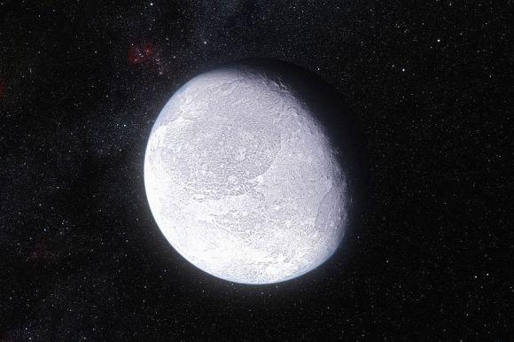 artist's impression shows the distant dwarf planet Eris. New observations have shown that Eris is smaller than previously thought and almost exactly the same size as Pluto. Eris is extremely reflective and its surface is probably covered in frost formed from the frozen remains of its atmosphere. Credit: ESO