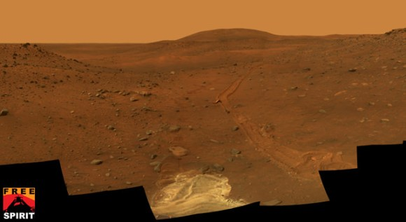 "This full-circle view from the panoramic camera (Pancam) on NASA's Mars Exploration Rover Spirit shows the terrain surrounding the location called ""Troy,"" where Spirit became emb"