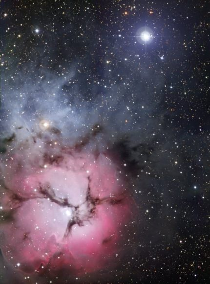 Full view of the Trifid Nebula.  Credit: ESO
