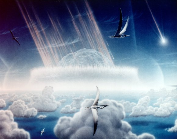 Artist's conception of an asteroid crashing into the Yucatan Peninsula about 65 million years ago. Credit: Donald E. Davis/NASA
