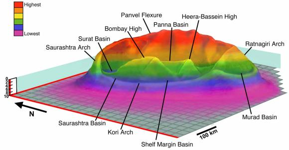 Three-dimensional reconstruction of the submerged Shiva crater (~500 km diameter) at the Mumbai Offshore Basin, western shelf of India from different cross-sectional and geophysical data. The overlying 4.3-mile-tick Cenozoic strata and water column were removed to show the morphology of the crater.
