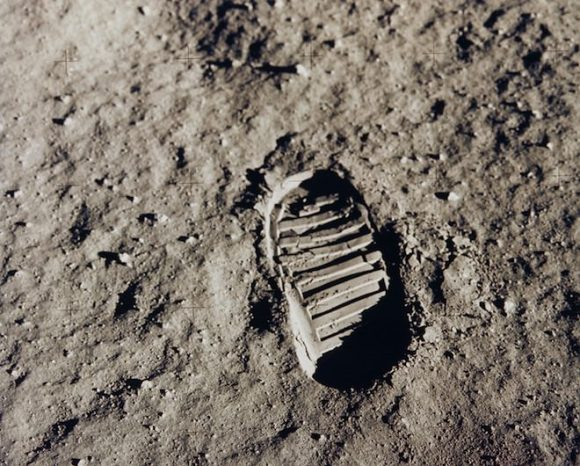 A bootprint in the lunar regolith, taken during Apollo 11 in 1969. Credit: NASA.