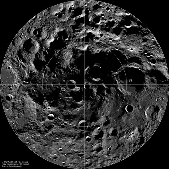 LROC Wide Angle Camera (WAC) mosaic of the lunar South Pole region, width ~600 km. Credit: NASA/GSFC/Arizona State University.