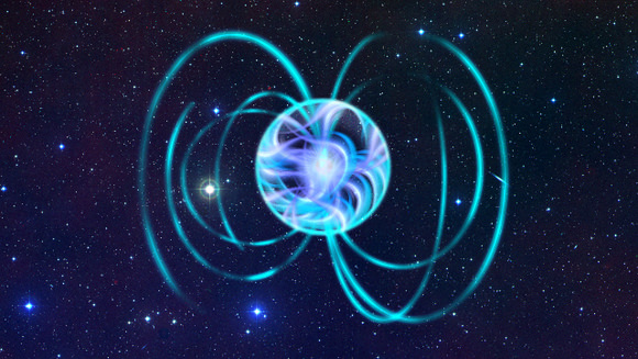 An artistic impression of a magnetar with a very complicated magnetic field at its interior and a simple small dipolar field outside. Credits: ESA - Author: Christophe Carreau