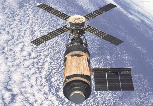 Skylab, America's First manned Space Station. Photo taken by departing Skylab 4 crew in Feb. 1974. Credit: NASA