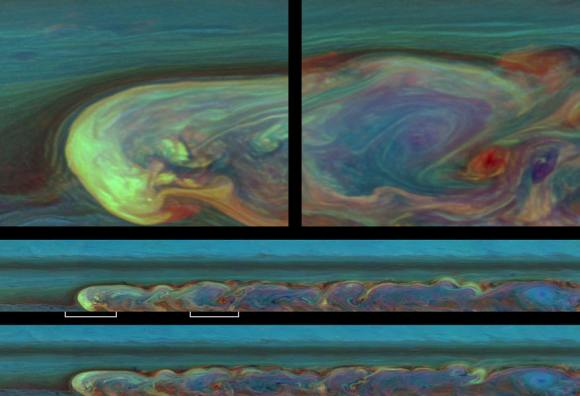 NASA's Cassini spacecraft captures a composite near-true-color view of the huge storm churning through the atmosphere in Saturn's northern hemisphere.  Image credit: NASA/JPL-Caltech/SSI