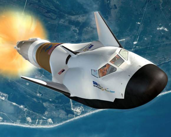 The Dream Chaser space plane atop a United Launch Alliance Atlas V rocket. Image Credit: SNC
