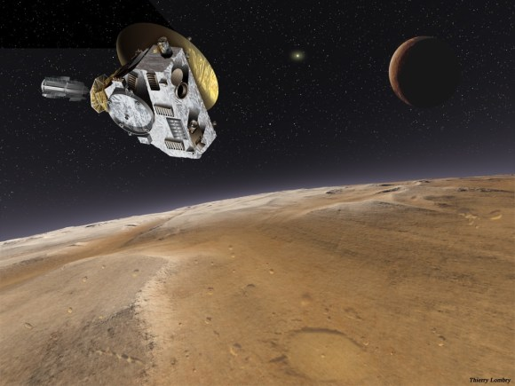 Artist's impression of New Horizons' encounter with Pluto and Charon. Credit: NASA/Thierry Lombry