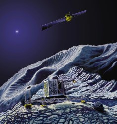 An artist concept of the Philae lander on comet 67P/Churyumov-Gerasimenko.  Credit: Astrium - E. Viktor/ESA