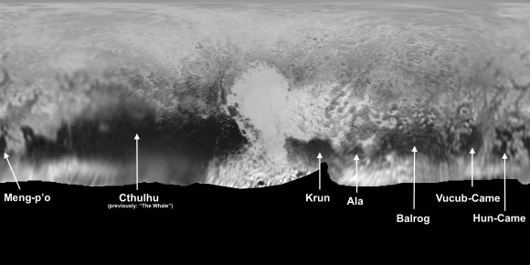 Map of Pluto, with (informal) names for some of the largest surface features. Credit: NASA/JHUAPL