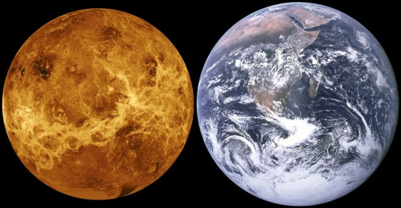 Size comparison of Venus and Earth. Credit: NASA/JPL/Magellan