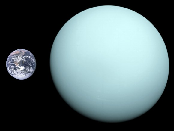 Diameter comparison of Uranus and Earth. Approximate scale is 90 km/px. Credit: NASA