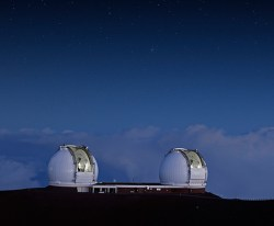 The two Keck 10-meter domes atop Mauna Kea. (Rick Peterson/WMKO)