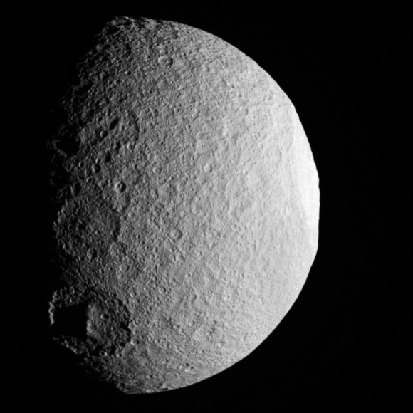 Saturn's moon Tethys, imaged by Cassini on April 14, 2012.