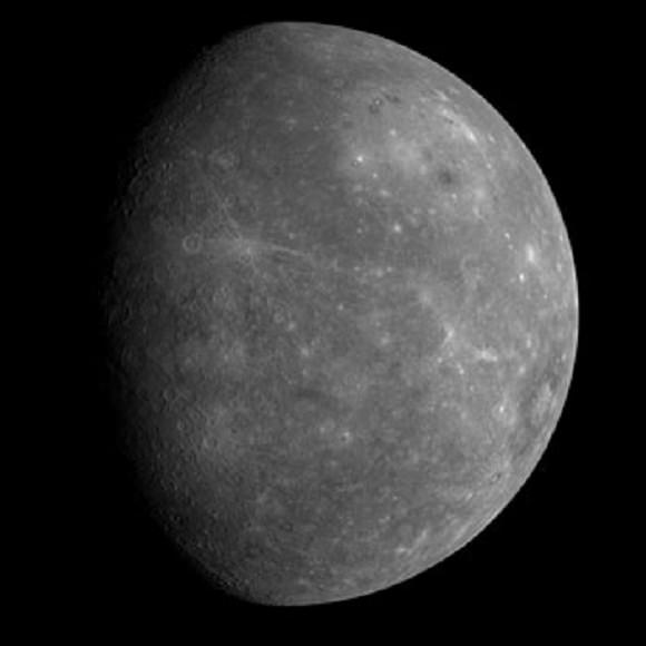 The planet Mercury as seen by NASA's Messenger spacecraft (Credit: NASA/JPL).