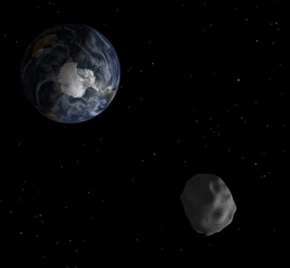 Asteroid 2012 DA14 Zooms just 17,200 miles above Earth on Feb. 15, 2013 in this artist's concept
