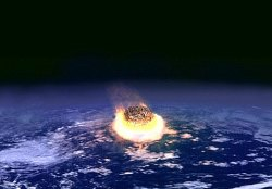 Artists concept of asteroid impact event