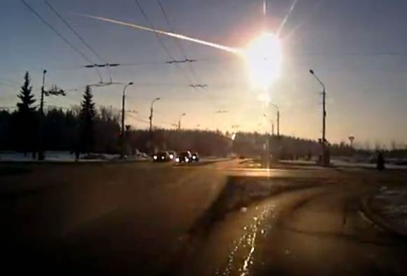 Frame grab from a video of the Feb. 15, 2013 Russian fireball by Aleksandr Ivanov